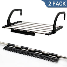 Load image into Gallery viewer, Discover the candumy folding laundry towel drying rack balcony windowsill fence guardrail corridor stainless steel retractable clothes hanging racks with clips for drying socks set of 2