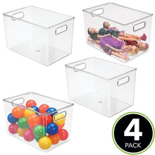 Load image into Gallery viewer, Results mdesign deep plastic home storage organizer bin for cube furniture shelving in office entryway closet cabinet bedroom laundry room nursery kids toy room 12 x 8 x 8 4 pack clear
