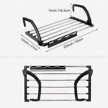 Load image into Gallery viewer, Explore candumy folding laundry towel drying rack balcony windowsill fence guardrail corridor stainless steel retractable clothes hanging racks with clips for drying socks set of 2