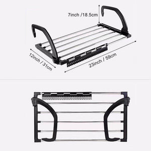 Explore candumy folding laundry towel drying rack balcony windowsill fence guardrail corridor stainless steel retractable clothes hanging racks with clips for drying socks set of 2