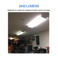Load image into Gallery viewer, Budget antlux 2ft led wraparound light 20w flush mount led garage shop lights 2400lm 4000k neutral white 2 foot commercial linear ceiling lighting fixture for kitchen laundry workshop closet 4 pack