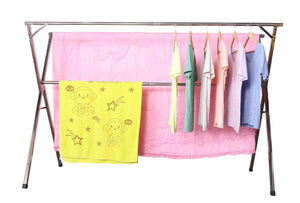 Top rated exilot heavy duty stainless steel laundry drying rack for indoor outdoor foldable easy storage clothes drying rack free of installation adjustable garment rack