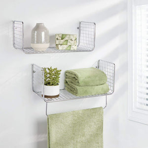 Get mdesign metal wire farmhouse wall decor storage organizer shelving set 1 shelf with towel bar for bathroom laundry room kitchen garage wall mount 2 pieces chrome