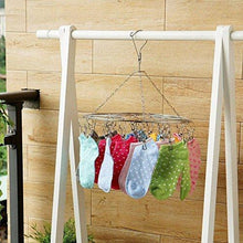 Load image into Gallery viewer, Discover the laundry clothesline hanging rack for drying clothing set of 20 stainless steel clothespins round