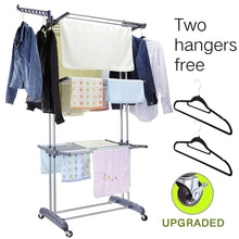 Load image into Gallery viewer, Buy 3 tier rolling clothes drying rack clothes garment rack laundry rack with foldable wings shape indoor outdoor standing rack stainless steel hanging rods gray electroplate gray