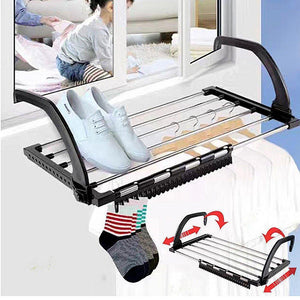 Featured candumy folding laundry towel drying rack balcony windowsill fence guardrail corridor stainless steel retractable clothes hanging racks with clips for drying socks set of 2