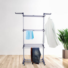 Load image into Gallery viewer, Discover the best 3 tier rolling clothes drying rack clothes garment rack laundry rack with foldable wings shape indoor outdoor standing rack stainless steel hanging rods gray electroplate gray