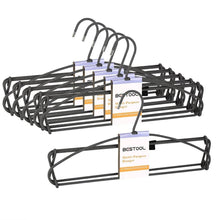 Load image into Gallery viewer, Discover the best bestool hangers heavy duty pant hangers non slip space saving trouser hanger wire stainless steel flocked hangers for men women and kids clothes 4 tier laundry closet hanger 6 pack