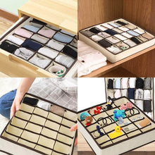 Load image into Gallery viewer, Select nice skyugle sock organizer underwear drawer divider 24 cell collapsible closet foldable clothes tie handkerchief wardrobe cabinet storage boxes beige 2 packs 1 mesh laundry bag for sock underwear