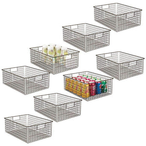 Organize with mdesign farmhouse decor metal wire food organizer storage bin baskets with handles for kitchen cabinets pantry bathroom laundry room closets garage 8 pack bronze