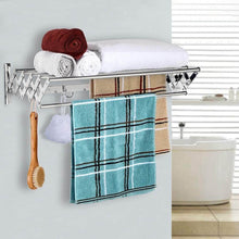 Load image into Gallery viewer, Heavy duty merya folding clothes drying rack wall mount retractable 304 stainless steel laundry drying rack bathroom towel rack with hooks rustproof space saving clothes hanger rack for indoor outdoor use