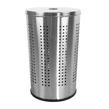 Load image into Gallery viewer, Storage brushed stainless steel laundry bin hamper 46l ventilated stainless steel clothes basket with polished lid life time warranty 4