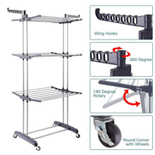 Load image into Gallery viewer, Discover the 3 tier rolling clothes drying rack clothes garment rack laundry rack with foldable wings shape indoor outdoor standing rack stainless steel hanging rods gray electroplate gray