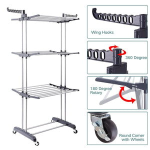 Discover the 3 tier rolling clothes drying rack clothes garment rack laundry rack with foldable wings shape indoor outdoor standing rack stainless steel hanging rods gray electroplate gray