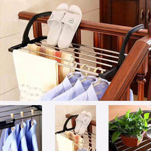 Load image into Gallery viewer, Cheap candumy folding laundry towel drying rack balcony windowsill fence guardrail corridor stainless steel retractable clothes hanging racks with clips for drying socks set of 2