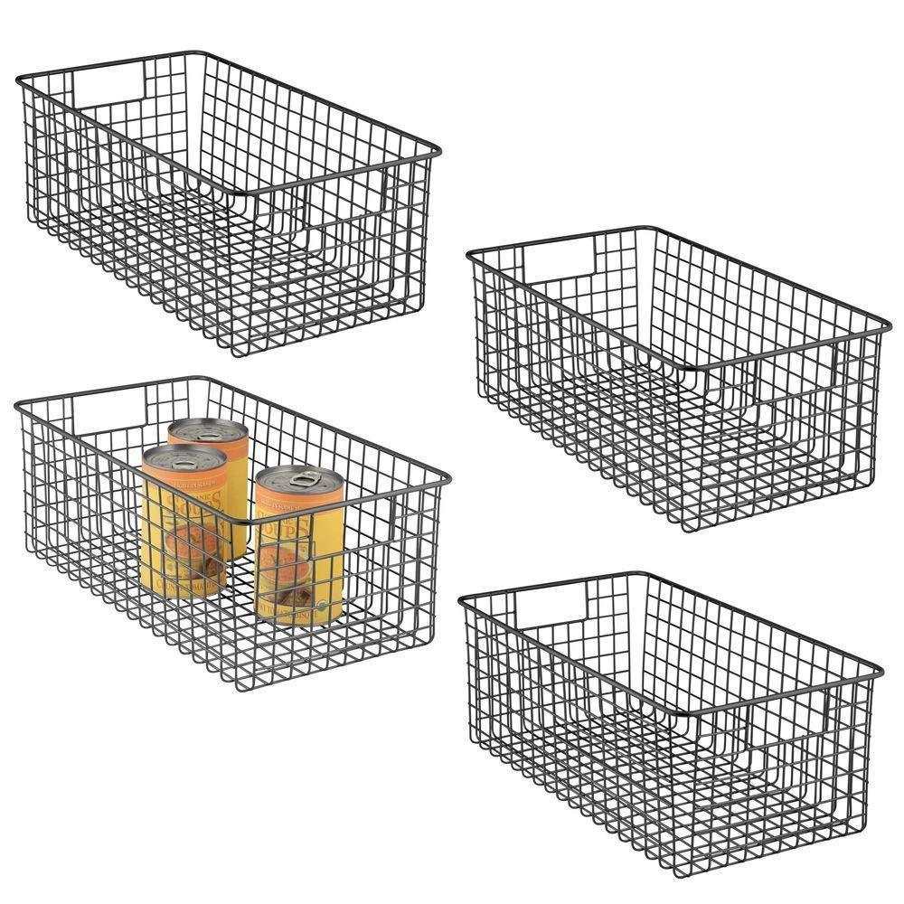 Save on mdesign farmhouse decor metal wire food organizer storage bin basket with handles for kitchen cabinets pantry bathroom laundry room closets garage 16 x 9 x 6 in 4 pack matte black