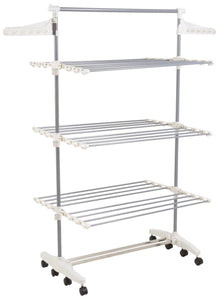 On amazon heavy duty 3 tier laundry rack stainless steel clothing shelf for indoor outdoor use with tall bar best used for shirts towels shoes everyday home