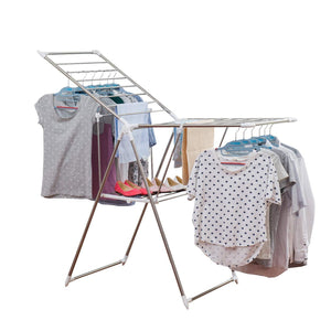 Great soges folding clothes drying rack stainless steel laundry rack dry hanger stand with shoe rack easy storage indoor outdoor use ks k8008