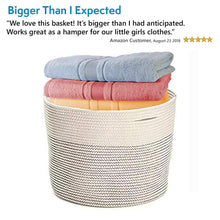 Load image into Gallery viewer, Save on solaya large rope basket storage 17x15 hand woven decorative large natural cotton basket with handles round laundry hamper clothes diapers toys towels blankets kids nursery