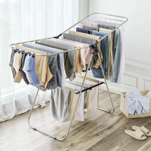 Load image into Gallery viewer, Save on songmics stainless steel clothes drying rack bonus sock clips foldable for easy storage gullwing space saving laundry rack ullr52bu