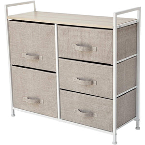 Order now east loft storage cube dresser organizer for closet nursery bathroom laundry or bedroom 5 fabric drawers solid wood top durable steel frame natural