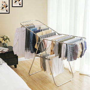 Selection songmics 100 stainless steel clothes drying rack bonus sock clips gullwing space saving laundry rack foldable for indoor and outdoor use ullr51sv