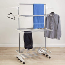 Load image into Gallery viewer, New heavy duty 3 tier laundry rack stainless steel clothing shelf for indoor outdoor use with tall bar best used for shirts towels shoes everyday home