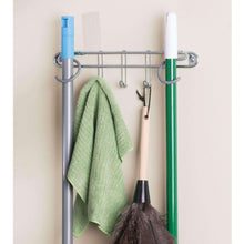 Load image into Gallery viewer, Storage mdesign wall mount metal storage organizers for kitchen includes paper towel holder with multi purpose shelf and broom mop holder with 3 hooks for pantry laundry garage 2 piece set chrome