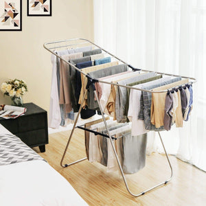 Selection songmics stainless steel clothes drying rack bonus sock clips foldable for easy storage gullwing space saving laundry rack ullr52bu