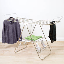 Load image into Gallery viewer, Storage organizer heavy duty laundry drying rack chrome steel clothing shelf for indoor and outdoor use best used for shirts pants towels shoes by everyday home
