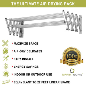 Organize with stainless steel wall mount laundry drying rack retractable fold away clothes dry racks easy to install design 22 5 linear ft 60 lb capacity extended size 34 x 24 x 8 5