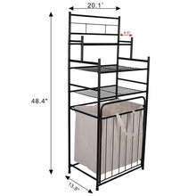 Load image into Gallery viewer, Buy now mythinglogic laundry hamper with 3 tier storage shelves bathroom tower storage organizer with dual compartment removeable hamper for bathroom laundry room closet nursery oil rubbed bronze