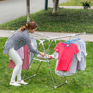 Latest dlandhome stainless steel clothes drying rack gullwing space saving laundry rack foldable for indoor and outdoor use k8008