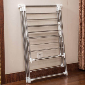 Home soges folding clothes drying rack stainless steel laundry rack dry hanger stand with shoe rack easy storage indoor outdoor use ks k8008