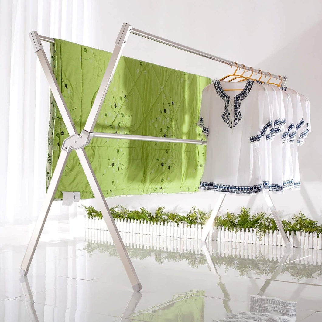 Heavy duty non rock stainless steel laundry drying rack free installed expandable oldable space saving 55 95 inch heavy duty