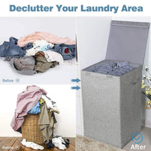 Load image into Gallery viewer, Storage cleebourg large laundry clothes hamper foldable laundry hamper with lid and handles easily transport laundry dirty clothes basket grey hamper for closet bathroom dorm 90l