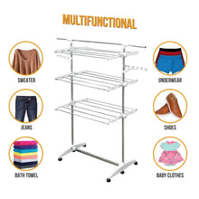 Load image into Gallery viewer, Best stainless drying clothes rack portable rolling drying rack for laundry baby clothes drying hangers rack stainless drying racks for laundry 3 tier drying racks for laundry by kp solutions