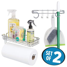 Load image into Gallery viewer, Shop here mdesign wall mount metal storage organizers for kitchen includes paper towel holder with multi purpose shelf and broom mop holder with 3 hooks for pantry laundry garage 2 piece set chrome