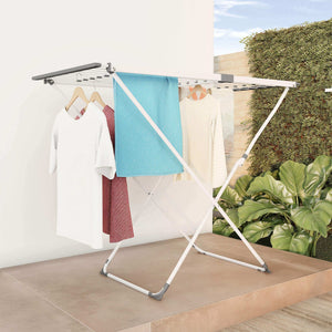 Top rated lavish home extendable clothes drying rack telescoping laundry sorter with rust resistant metal x frame for folding and hanging garments