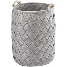 Load image into Gallery viewer, AMY Polyester Round Hamper Laundry Organizer Basket With Wood Carry Handles