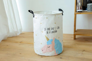 Folding Laundry Basket Cartoon Storage Barrel Standing Laundry Organizer