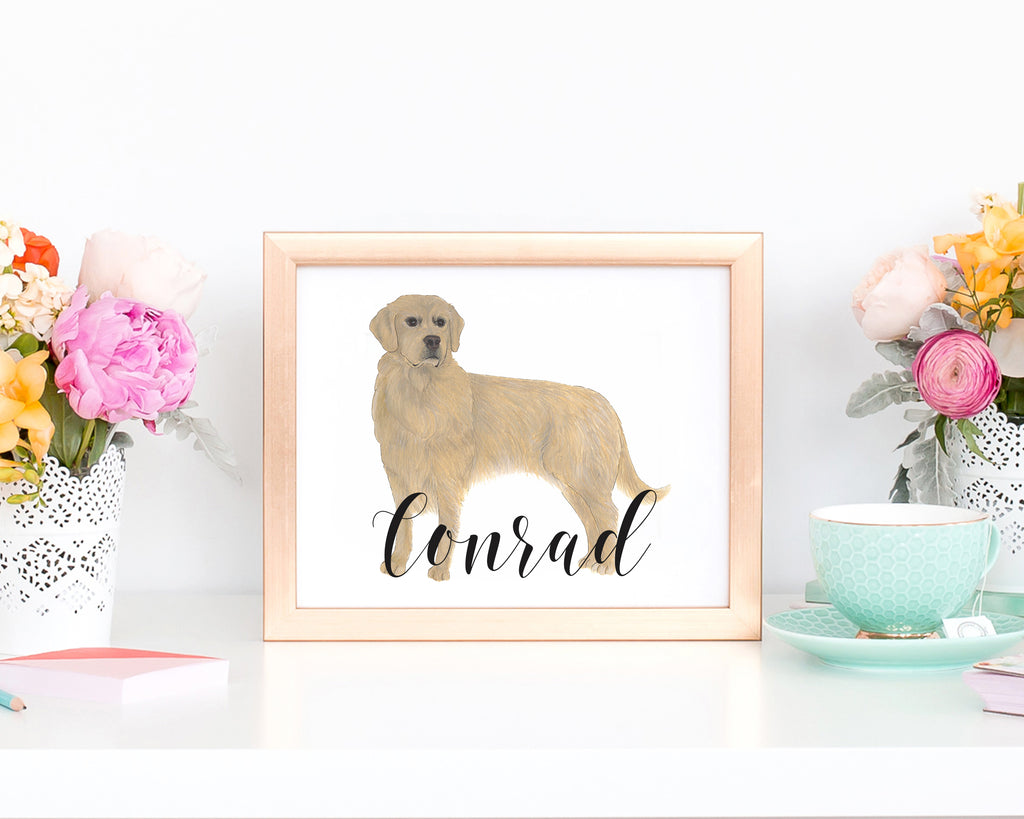 custom golden retriever painting with hand lettering
