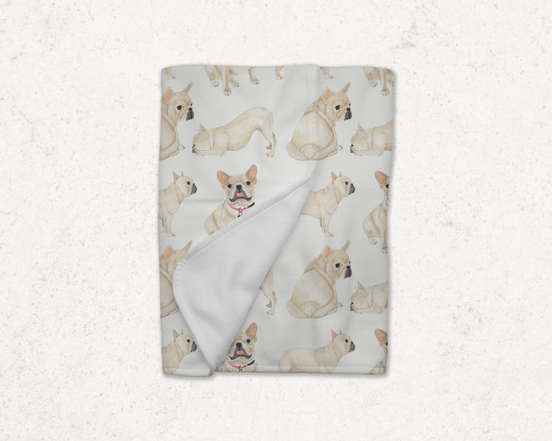 Fawn French Bulldog Fleece Baby Blanket