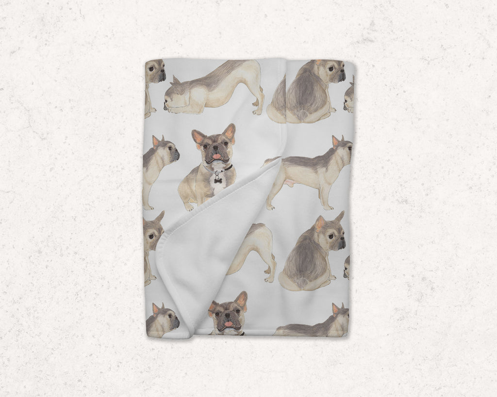 Blue Fawn Tricolor French Bulldog Fleece Baby Blanket