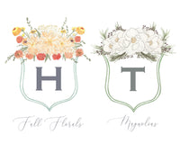 White Floof Floral Crest Milestone Cards