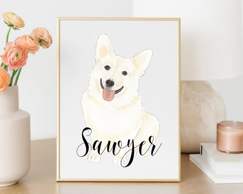 Personalized Corgi Fine Art Print