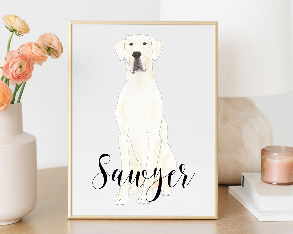 Personalized Great Dane Fine Art Print