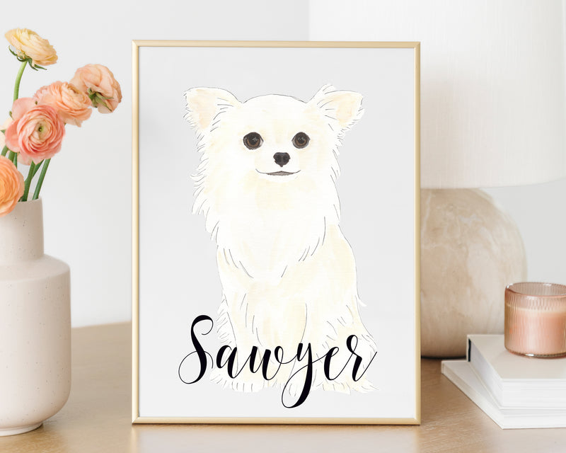 Personalized Chihuahua (Long Haired) Fine Art Prints