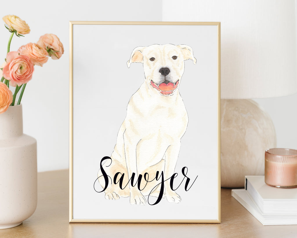 Personalized Pitbull Fine Art Print