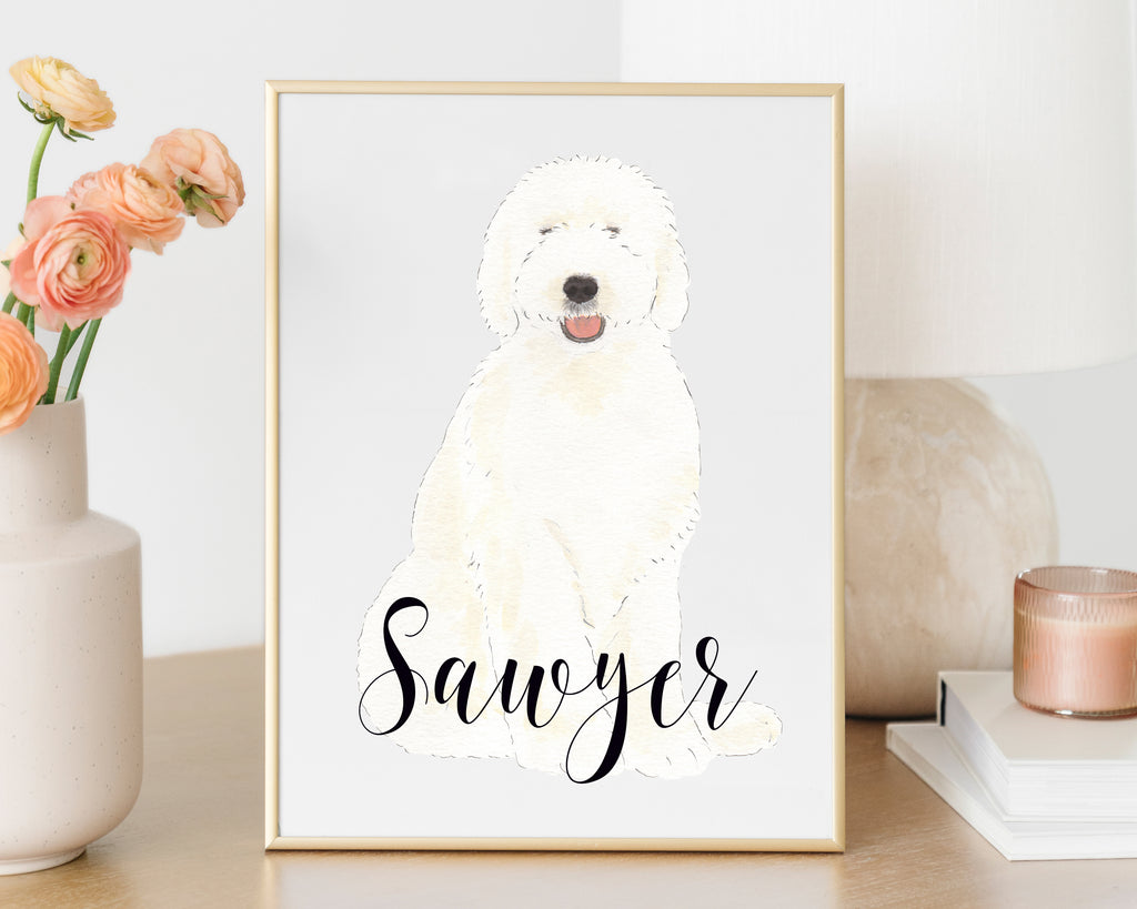 Personalized Old English Sheepdog Fine Art Print